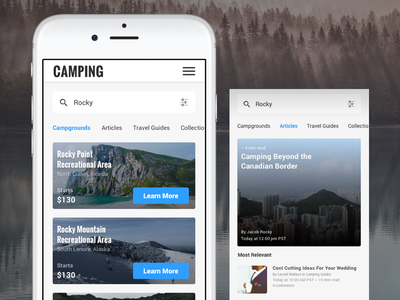 Camping Federated Search outdoors ux ui filter search articles camping listings campgrounds