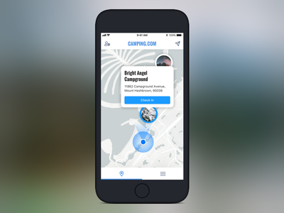Location Based Campgrounds clean location-based typography hiking campgrounds app design mobile camping ux ui