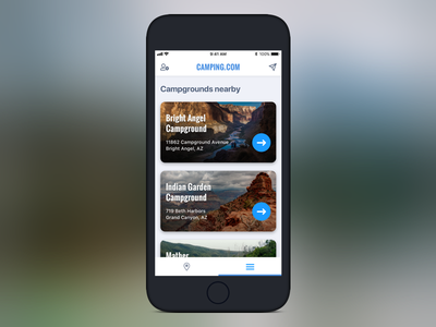 Campgrounds Nearby gps location-based atomic hiking clean campgrounds design app camping mobile ux ui