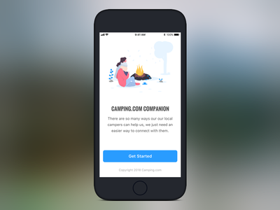 Camping App Onboarding registration onboarding ui onboarding screen onboarding typography atomic illustration location-based hiking clean campgrounds app mobile design camping ui ux