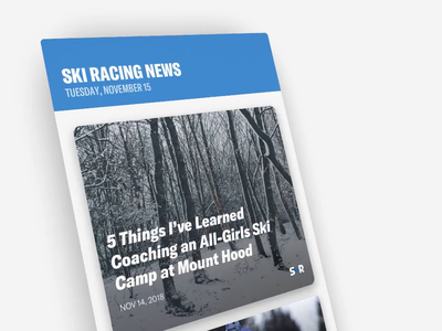 Ski Racing News font opening gif animation skiracing vector articles clean app design mobile ux ui