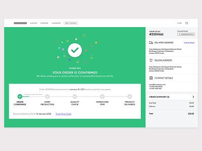 Order Confirmed website process success order success thankyou order online screen template design steps order progress