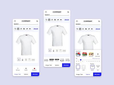 T-Shirt Design Template fashion application custom branding screen design cloth app ui online template graphic design tshirt