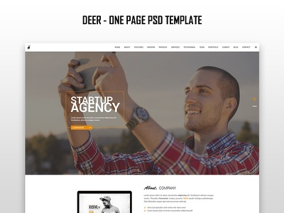 Deer - One Page PSD ui theme template deer one page psd