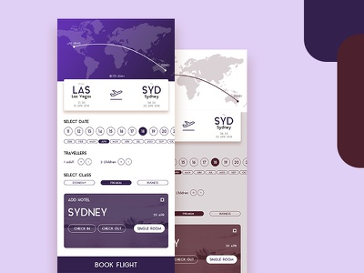 Flight Booking Screen travel search screen navigation ios hotel flight app android
