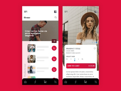 Clothing Shop App label clothing shopper shopping app android screen ios template design