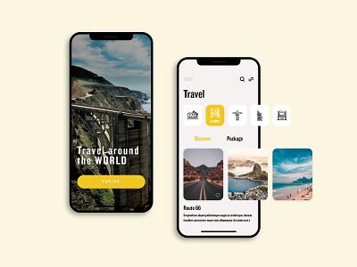 Travel App ui vector screen template design ios xd design package app design travelling app travel