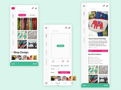 Custom Design App vector store online shopping adobexd apple ios android mobile mockup print design print custom design app ecommerce shop clothing fabric design