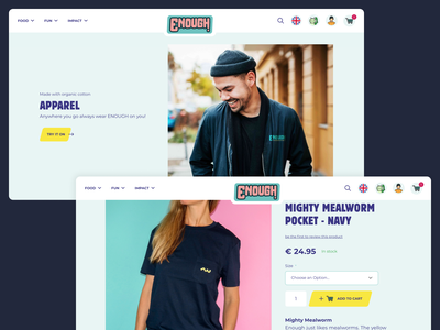 Webshop for Enough insects strong message bold overview food insects category categories shirts environment magento2 responsive webshop change the world impact enough