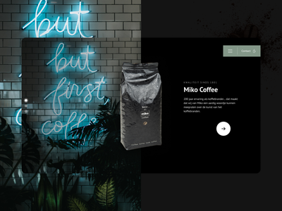 Miko Coffee desktop web design webdesign beans drinks food miko brand branding dark mode dark clean big hero image big image product label coffee