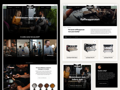 Miko Coffee design webdesign uxdesign ux category filters overview products machines destress relax coffee bean cookie black dark warm drinks miko coffee homepage
