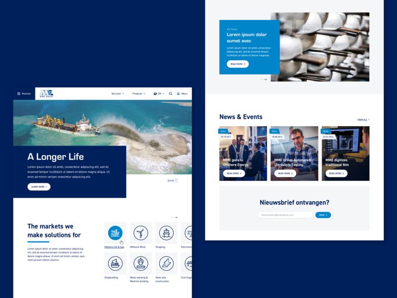 Webdesign MME markets services product dark bright clean ships oil offshore mega menu complex menu navigation hero key keyvisual image big white blue