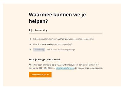 Schadefonds hulp bij informatie content web clean fonds schade hands illustration information smart question search beige orange webdesign help hulp