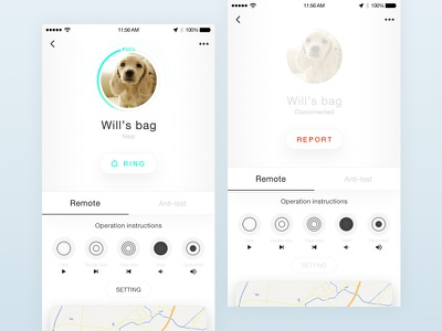 Remote control app pet lost card android ui dog mobile ios connect app control remote