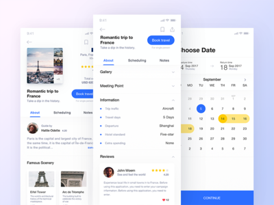 Travel booking app ux ui card booking continue choose date travel discover dialogue concept comment