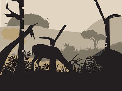 Forest grass animal deer forest vector art illustration graphic design adobe