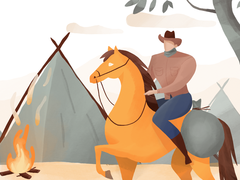 Cowboy procreate illustration fire horse cowboy