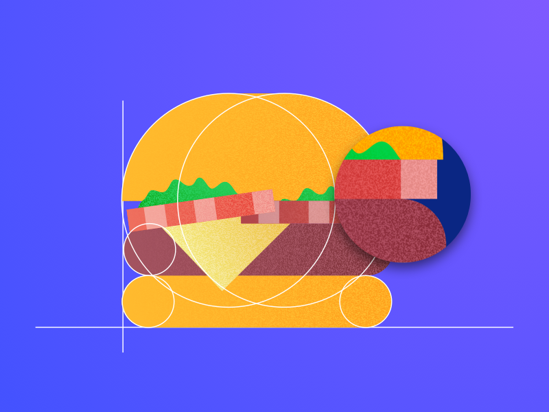 Burger shahnawaz material ui8 kit geometric texture gradient illustration burger