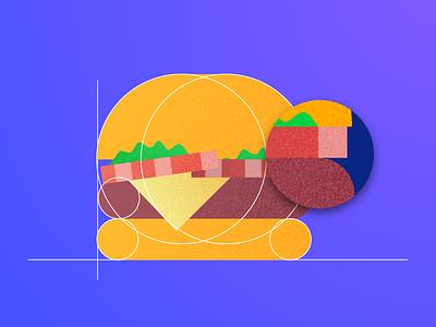 Burger shahnawaz material ui8 kit geometric texture gradient illustration burger