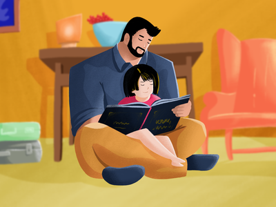 Father daughter ipadart procreate drawing illustration daughter father
