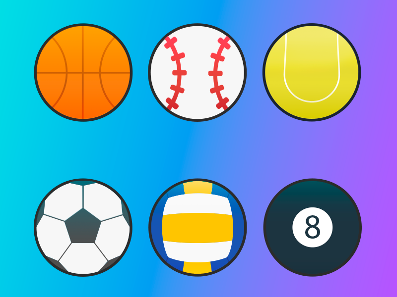 Set Of 6 Sports Balls Vector Icons Free By Artsem On Dribbble