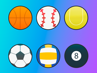 Set of 6 Sports Balls Vector Icons - FREE