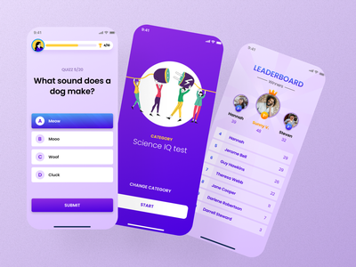 Quizz app trivia ios brain leaderboard iq quizz illustration app mobile
