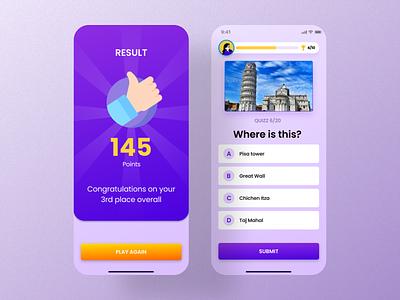 Quizz app - iOS screens mobile app ios question result brain quizz triva