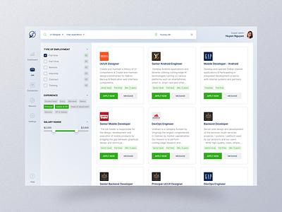 Job board - Job search design senior layout filter dashboard admin search board job