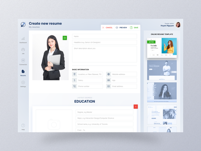 Job board -  Build a resume ui vietnam upload photo description work build cv job layout dashboard app resume