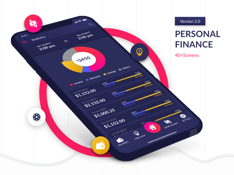 Personal finance v2.0- FREE download transactions reports profile mobile menu login graph iphonex chart iphone x analytics vietnam
