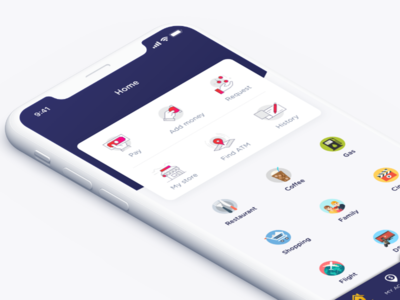 Home page  - Personal finance IOS application icon drop drag flip white blue illustrations category x iphone home