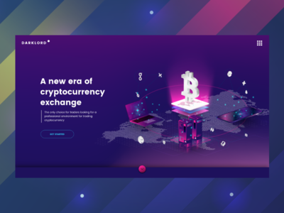 Cryptocurrency exchange website etherenum landing page web design vietnam isometric illustrations page home blockchain crypto bitcoin