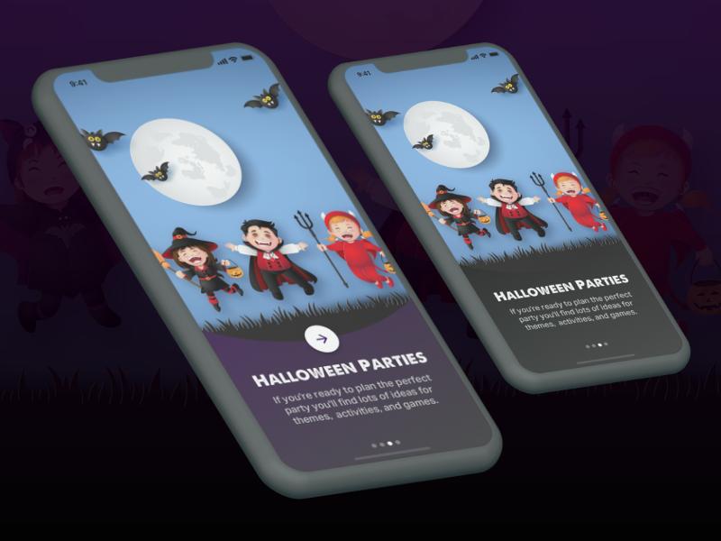 Halloween onboarding mobile app iphone x dark mobile app design walk through onboarding halloween