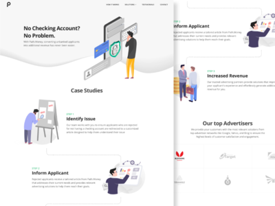 Finance marketing website flat website web landing page art minimal step finances ui illustration vietnam