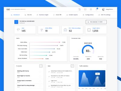 CMS Technical dashboard line system admin dashboard design chart blue material app