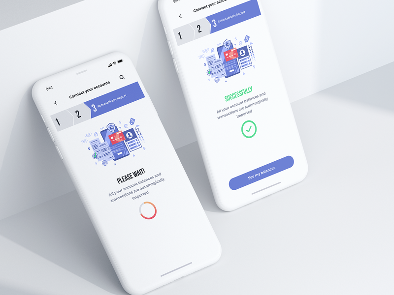 Connecting bank account - Mobile app credit union iphone x step loading screen wait illustraion connecting connect account bank mobile