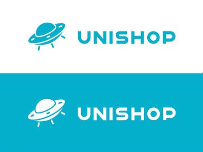 Logo for Unishop onlineshop design minimal beautiful submarine alien ufo uni shop company flat logo