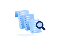 Where is it? product illustration 2d illustration magnify glass query searching search list