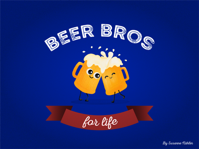 Today is the International beer day! friends cute grain beer typography design illustration