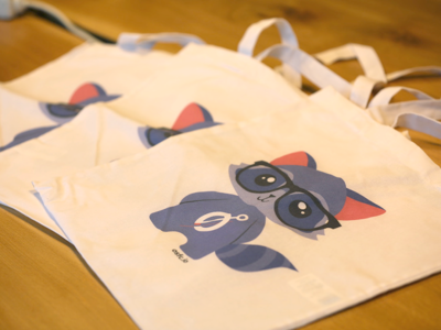 Open source firmware conference bags bag raccoon ui animal cute mascot conference swag illustration
