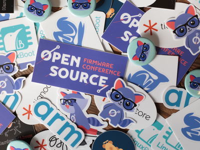 Open source firmware conference merchandise racoon swag cute illustration animal buttons sticker
