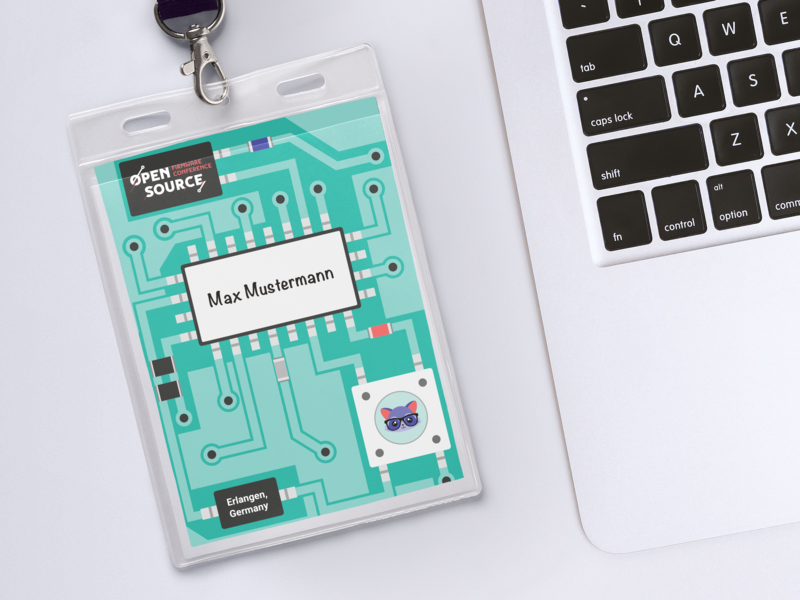 Badges for the open source firmware conference 2018 badge print conference illustration