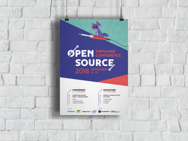 Poster for the open source firmware conference 2018 poster logo racoon cute print conference animal illustration