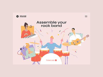 Sound Inside — Your Rock Band Page sound design web ui illustration
