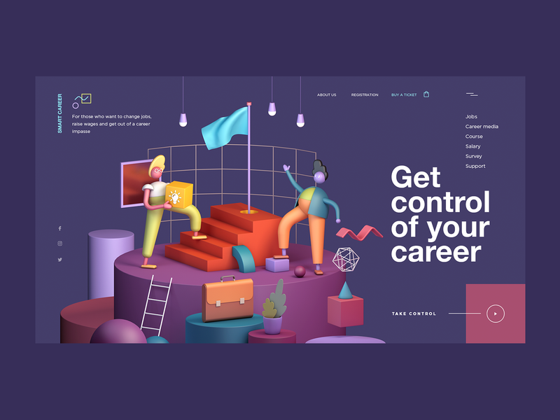 Career Track cinema 4d cinema4d 3d 3d art illustration design web