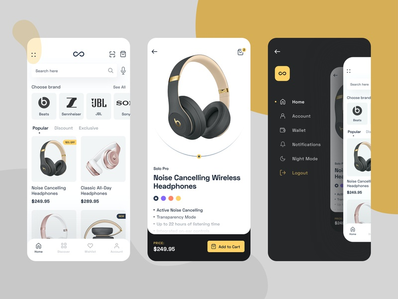 eCommerce yellow headphone shopping cart shopping app shop app ecommerce shop ecommerce design ecommerce app app designer app design mobile app design mobile design mobile apps mobile app minimal interface app landing ux website