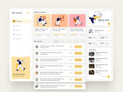 Online Course Platform Dashboard coaching dashboard ui design dashboard ui learning platform web design agency learning students minimal learning app illustration courses ux tutorial teacher lessons event educational education dashboard