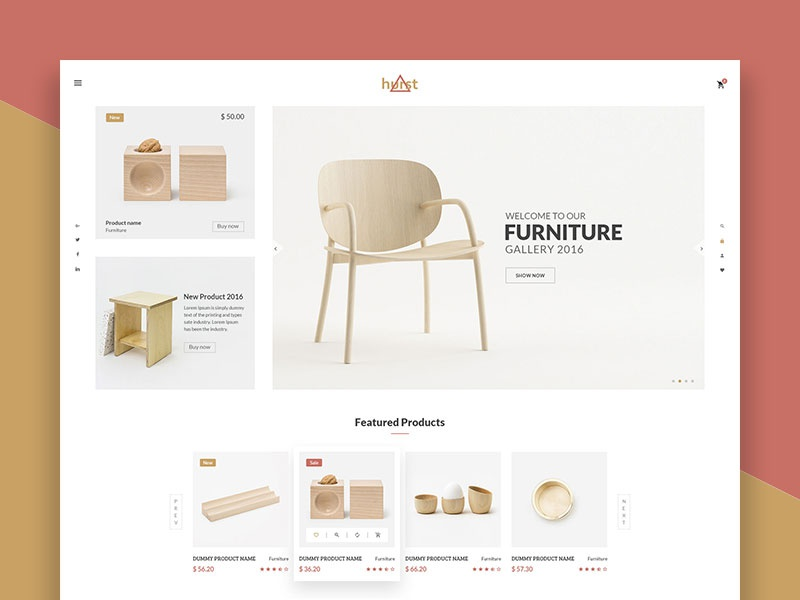 Hurst - eCommerce PSD Template wood office minimal house furniture template furniture ecommerce furniture