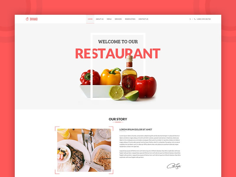 SHHAAD - One Page Restaurant Template ui corporate creative amazing themeforest retail restaurant reservation food clean cakes cafe bar